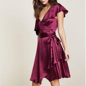 WAYF satin one shoulder Rachelle Wrap Dress